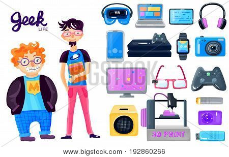 Geek life accessories cartoon icons set with 2 nerd characters gadgets loudspeaker smart watch glasses isolated vector illustration
