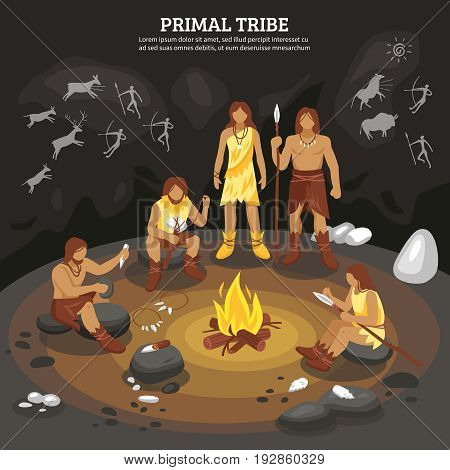 Primal tribe people with cave painting symbols flat vector ilustration