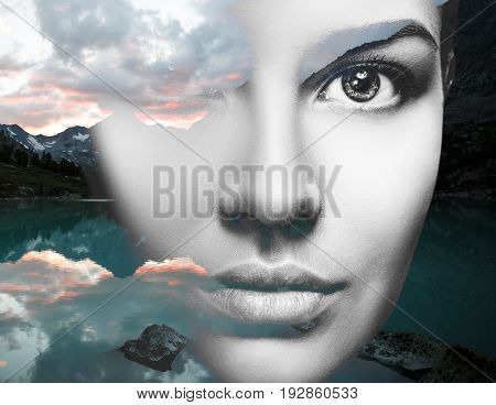 Double exposure of young sensual woman and nature landscape