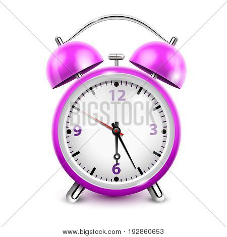Purple alarm clock with two bells in retro style on white background realistic vector illustration