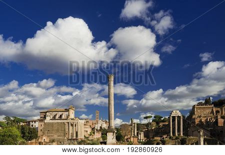 Roman Forum ancient ruins churches and Palatine Hill with beautiful clouds