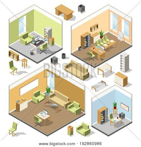 Different isometric workspaces with sectional furniture. Vector 3d architectural plan. Isometric interior office cabinet with modern computer and table illustration