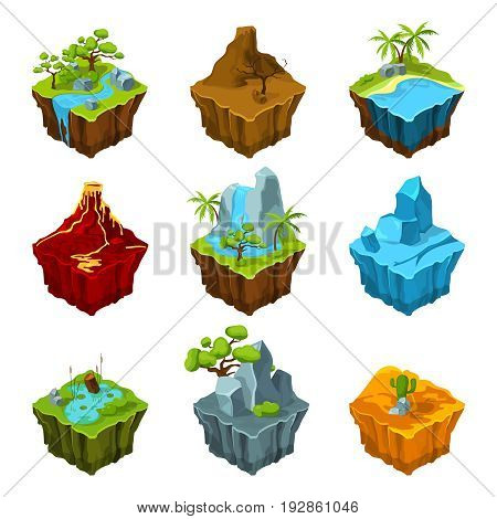 Fantasy isometric islands with vulcans, different plants and rivers. Interface elements in cartoon style. Vector computer games. Platform with plant and mountain, water and vulcan illustration