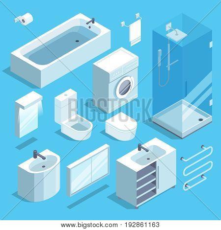 Isometric furniture elements set of bathroom interior. Vector illustration. Bathroom interior with element of furniture