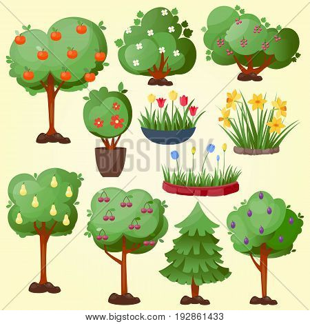 Funny cartoon green garden park tree fruits set vector nature elements isolated enviroment landscape wood graphic illustration. Fantasy outdoor pixel art style elements