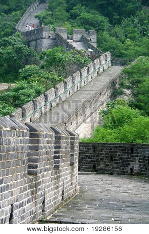 Chinese great wall through green hills