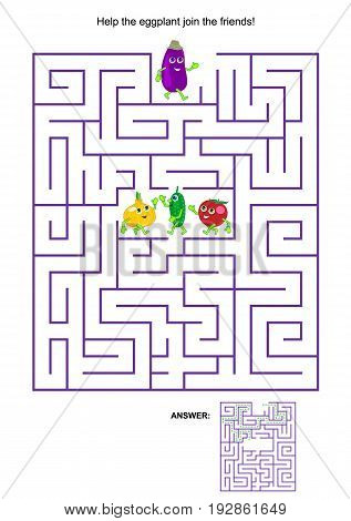 Maze game with cute vegetable characters: Help the eggplant join the friends. Answers included.