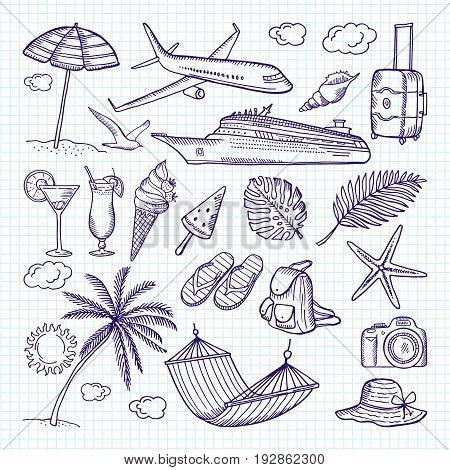 Summer hand drawn elements. Sun, umbrella, backpack and other symbols of funny vacations. Vector doodles sketch elements to holiday luggage and camera illustration