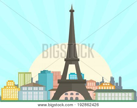 France landscape sunset in froun view vector