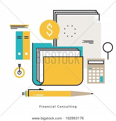 Financial consulting, finance guidance, business advisor, investment assistance, bookkeeping vector illustration design for mobile and web graphics