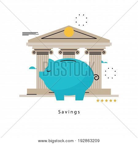 Piggy bank concept, banking, financial investment, budget management, savings account, deposit, pension fund money, financial planning flat vector illustration design for mobile and web graphics