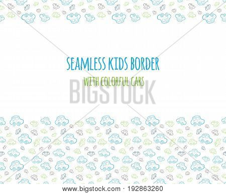 Set of vector seamless baby boy border with hand drawn cars. Elements for design kids banner, flyer, background, wallpaper, card and others.