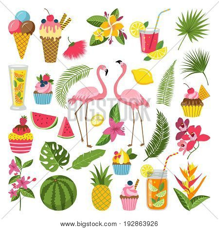 Summer time labels set for tropical party. Different icons in flat style. Drinks, watermelon, lemonade and flamingo. Summer holiday and tropical object food and beverage. Vector illustration