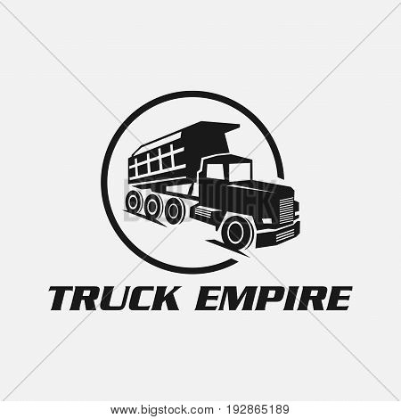 Set of classic heavy truck logo emblems and badges. Truck with trailer and tip truck. Vector illustration.Eps8,Eps10