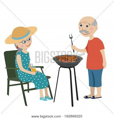 Happy grandparents fry sausages on a barbecue