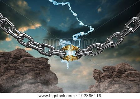 3d image of damaged silver chain against blue and orange sky with clouds