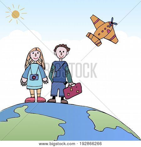 Young Couple traveling standing on the world with a plane in the sky. Travel and tourism. Couple traveling vector illustration concept.