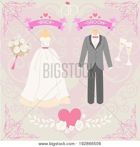 The Bride and Groom just married elements in cute style vector