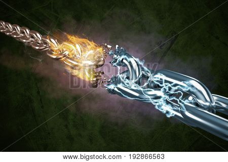 3d image of damaged silver chain against green background