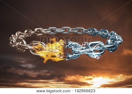3d image of broken silver chain against cloudy sky landscape