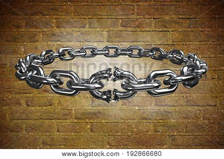 3d image of broken silver chain against stone wall