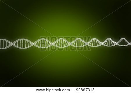 Close up of 3d DNA against green background with vignette