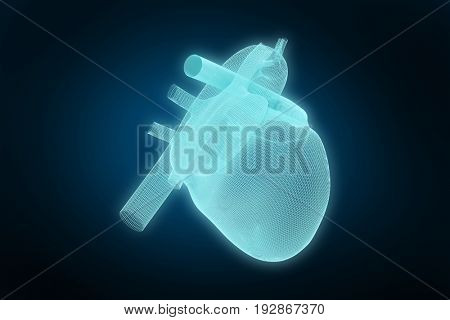 3d illustration of human heart against blue background with vignette