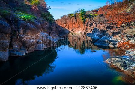 Stunning river. A mountain river flowing thorough stones