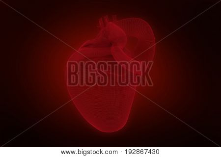 Vector image of 3d human heart against red background with vignette