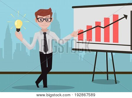 Successful businessman with great idea and infographic desk