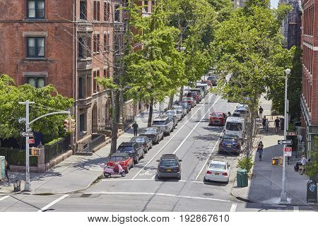 New York USA - June 02 2017: Quiet street in Chelsea Historic District an elegant residential neighborhood in the city.