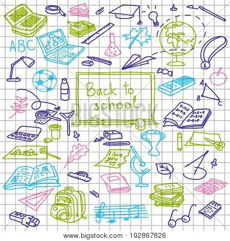 Back To School, Hand Drawn Colored Silhouettes On Squared Paper, Sketch, Doodle,