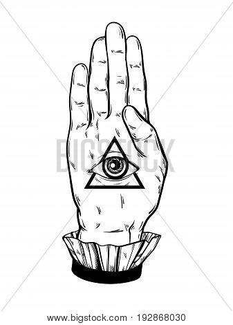 Vector hand drawn illustration of hand of witch. All seeing eye pyramid symbol. Tattoo hand sketched artwork. All seeing eye pyramid symbol. Template for card poster banner print for t-shirt.