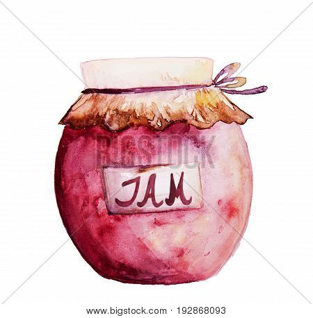 Beautiful Tasty Appetizing Jam Jar with Red Fruit Jam. Hand Drawn Watercolor. Illustration. Isolated.