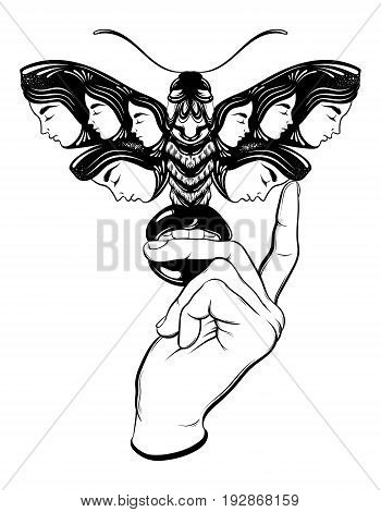 Vector hand drawn illustration of moth with female faces on the wings and woman hand with mouth. Fantasy occultism tattoo art. Template for card poster banner print for t-shirt.
