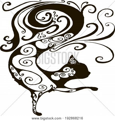 Vector illustration silhouette of a cat isolated on white background. Curly silhouette of a black cat. Design of fantasy cat tattoo.