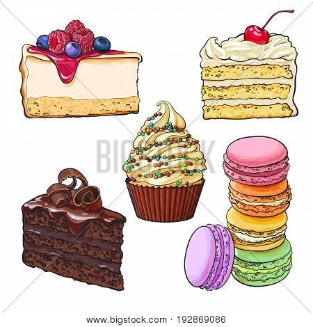 Dessert collection - cupcake, chocolate and vanilla cake, cheesecake, macaroons, sketch vector illustration isolated on white background. Hand drawn desserts - cakes, cupcake, cheesecake, macaroons