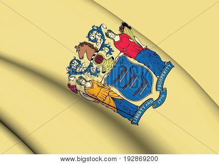 3D Flag Of New Jersey State, Usa.