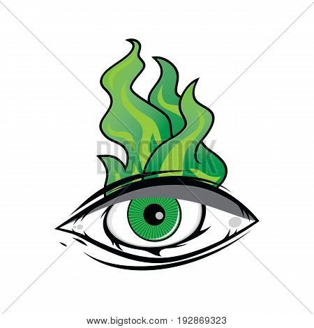 The All Seeing Eye - Green Firey Flame Illuminati Freemasonry Vector