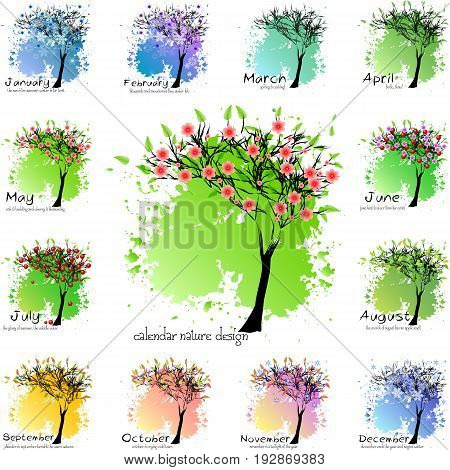 Calendar design with abstract seasonal tree and slogan for all months. Shape of tree for all seasons on colorful splashes and blots. Vector illustration
