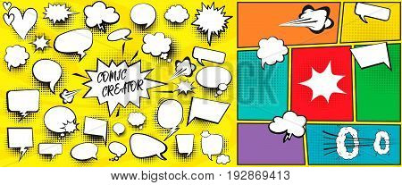 Speech bubbles comic creator set with isolated elements vector