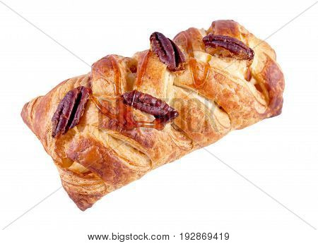 Pastry with pecan nuts isolated on a white background