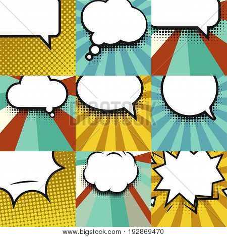 Blank comic balloon set template. Clear comics colorful speech bubbles halftone dot background style pop art collection. Text dialog empty cloud.Creative idea conversation background sketch explosion