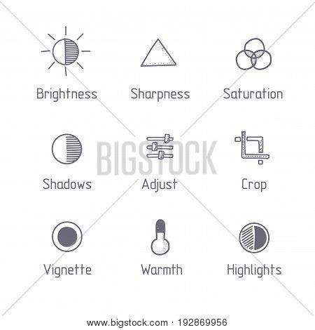 Picture editing icon set. Hand drawn art. Brightness, sharpness, saturation, adjust, crop, vignette, warmth. Line style.