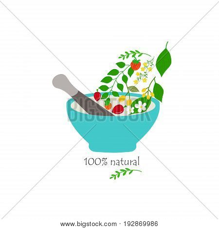 Vector hand drawn illustration natural cosmetics medicine aromatherapy mortar pestle herbs flowers berries flowing to the bowl colorful logo element