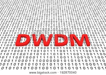 DWDM in the form of binary code, 3D illustration