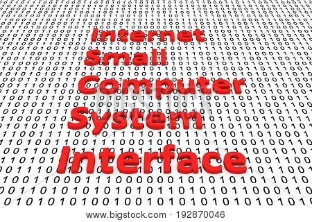 Internet small computer system interface in the form of binary code, 3D illustration