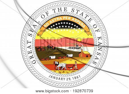 3D State Seal Of Kansas, Usa.