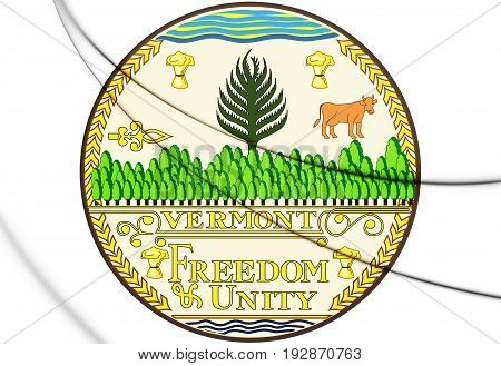3D State Seal Of Vermont, Usa.