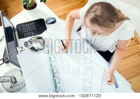 Top View At Architect's Desk Where Architect Is Working